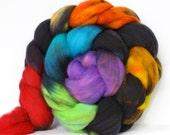 Rainbow Thunder 4 oz Targhee Roving Wool Superwash-Handpainted Top for Spinning or Crafting