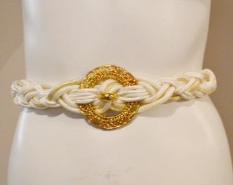 Vintage Belt Must Have Braided White with Gold