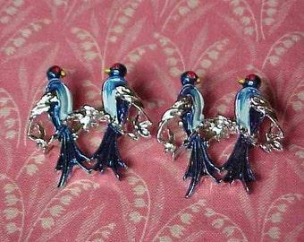 2 Vintage Blue Bird Love Birds Scatter Brooch pins