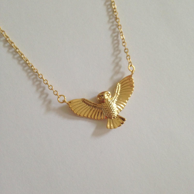 gold owl necklace owl pendant golden owl bird necklace
