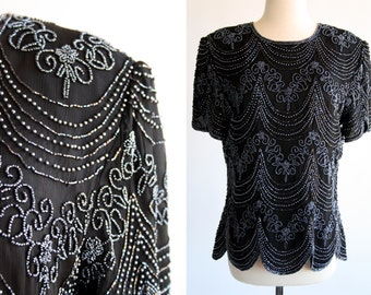 Papell Boutique Evening Black Beaded Short Sleeve Back Zip Vintage Woman's Blouse