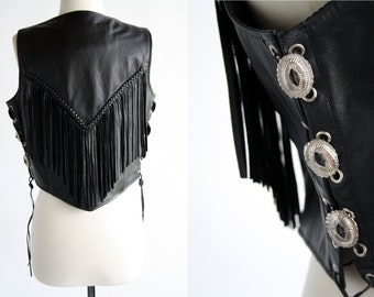 RESERVED FOR JEN: Frontier Leathers Woman's Size Medium Black Leather Lace Up Concho Western Style Fringe Vintage Vest