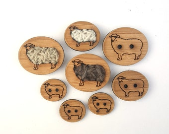"""Stitchable Sheep Buttons (Card of 4 x 3/4"""", 1"""", 1.25"""" or Card of 2 x 1.5"""") Stitchable or 2 hole Bamboo Buttons"""