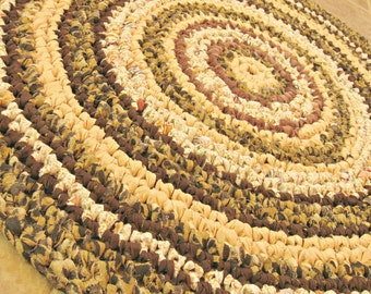 """Rag Rug, crochet, round, brown, chocolate, earth, multi, spice, earth tones, cottage, country, folk, eco, 26"""", 66cm."""