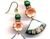 Malachite Earrings, Enamel Asian Fan Earrings, Pink and Green Earrings, 18 K Gold Filled Cooper Earrings, Handmade by Annaart72