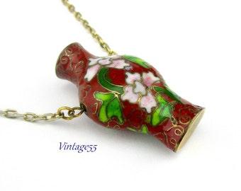 Necklace Cloisonne Enameled Vase Pendant Floral