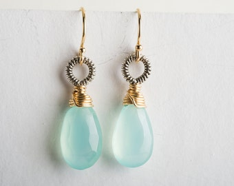 Erin: Aqua Chalcedony Drop Earrings w/ Gold-filled and Oxidized Silver, Coiled, Small, Petite, Bright, Summer, Elegant, Blue