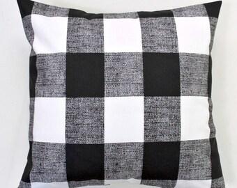 Buffalo Check Throw Pillow Cover, Black White, Premier Prints Black 16x16, 18x18, 20x20