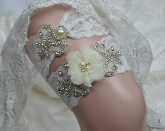 Wedding Garter Set-Bride Garter Set -Off White Garter Set