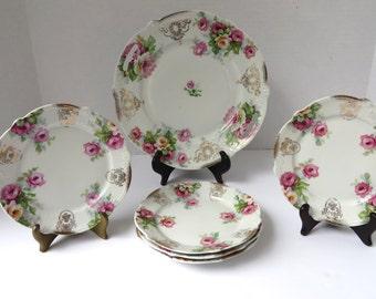 Antique Porcelain Bavarian Pink and Deep Pink Rose Cake Set