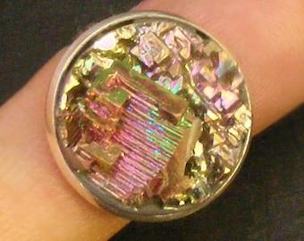 DESERT SUNSET  - Bismuth Crystal Ring - Bright Iridescent Hopper Crystal Group rg06