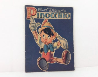 Vintage 1930's Book // Walt Disney Pinocchio // Illustrated Coloring book
