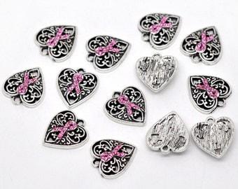 Heart Charm - Breast Cancer Awareness Ribbon - Pink Rhinestone - Set of 2 charms - #MP103