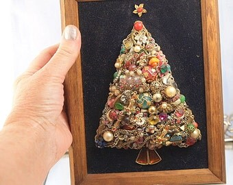 Vintage Jewelry Christmas Tree Miniature Framed Christmas Tree Christmas Decoration