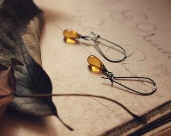 The Ciderhouse Earrings. Rustic, Bohemian, Modern, Minimalist, Golden Amber Glass Droplet & Gunmetal Earrings.