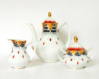 Carsten's China Art Deco Bauhaus Set: Hand Painted Porcelain Coffee Pot, Tea Pot, Dessert Set for 4 - Gilded, Checkerboard, Feather Motifs