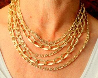 Vintage Statement Necklace Greek Key Multistrand Gold Tone 1960s