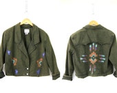 Tribal Jacket Vintage 80s overdyed jean jacket Painted Southwestern Crop coat Womens Green Western Ethnic Ranch denim coat Size Medium Large