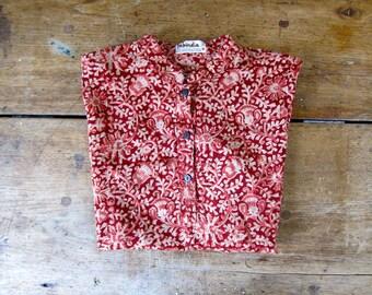 Cotton Gauze Floral Blouse Short Sleeve Fabindia Shirt Deep Red Flower Print Indian Top Tribal Tunic Top Ethnic Print Collared Tshirt Medium