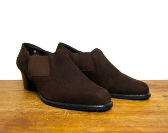 Dark Brown Suede Booties Vintage 90s Slip On Leather Ankle Boots Pumps Leather Mules Boho Hipster Fall Boots Womens size 8.5