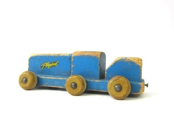 Painted Blue Vintage Wooden Train Toy Chippy Paint Child's Playskool Toy Shelf Display Piece