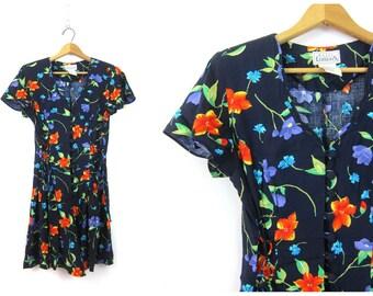 Blue Floral Print Romper Dress 90s Grunge Culottes Skirt Flower Shorts Mini Dress One Piece Playsuit Revival Boho Hippie Vintage Size Small