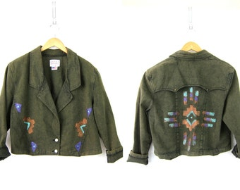 Green Jean Jacket Vintage overdyed jean coat Painted Southwestern Cropped tribal pattern Ranch coat Women's  Size Medium Large