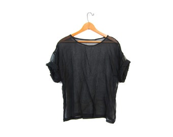 Oversize Minimal Black Sheer Tshirt Blouse Boxy SEE THROUGH Rayon Slip Shirt Modern Minimalist Top Sportswear Vintage Plain Tee Small Medium