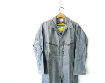 KEY Sanforized denim Coveralls Vintage deadstock Herringbone Jumpsuit Mechanic Pants Key Jean BIBS Jumper Romper Jumpsuit Mens Size 38 shor
