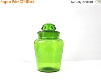 Green Glass Apothecary Canister Jar Large Mid Century Vintage Glass with Lid Kitchen Storage Decor