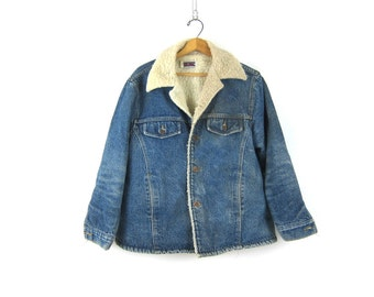 Sherpa Lined 80s Jean Jacket Big Mac Shearling Coat Denim Jacket Blue Boho Hipster Coat Hipster Vintage Size Large