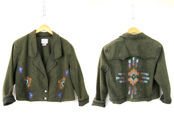 Green jean coat Painted Southwestern Cropped tribal pattern Ranch Jacket Women's green jean jacket Size Medium Large