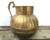 Vintage Round Brass Vase~ Ornate Boho decanter~ Leaf design~ Large and gorgeous
