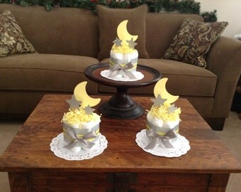 Moon and stars twinkle twinkle Diaper Cake Baby Shower Centerpiecemini cake size other toppers and colors sizes avail