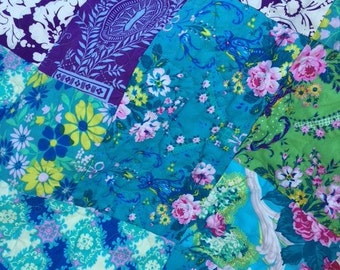 SALE Baby Girl Crib Quilt Toddler Mat Patchwork Roses Flowers Jennifer Paganelli Caravelle Arcade Fabrics Nursery Gift