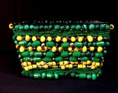 """Green And Yellow Beaded Basket. Titled """"Duck Fever"""""""