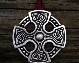 Celtic St. Brynach's Cross  Christmas Ornament Celtic Christmas Decoration by Treasure Cast Pewter