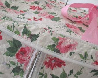 Vintage Closet Garment Storage Bag * Barkcloth Era * Shabby Cottage * Pink Roses
