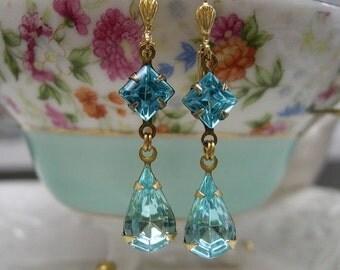 Aquamarine Dangle Earrings ~ Vintage Glass Earrings ~ Two Stone Earrings ~ Small Dangles