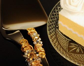 SALE HALF PRICE Gold silver wedding cake cutting set knife server Swarovski bead crystal reception decor bridal shower