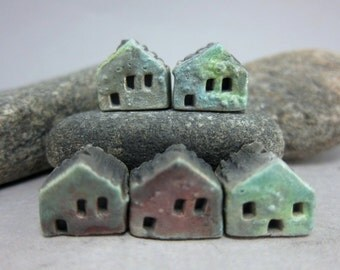 5 Saggar Fired Miniature House Beads...Copper Combo