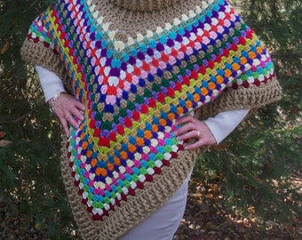 Ladies Crochet Poncho-Women's Sweater poncho
