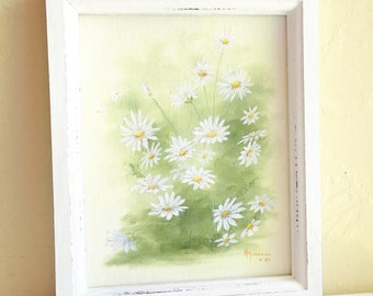 Vintage Framed Original Painting of White and Yellow Daisy Flowers in White Shabby Chic Wooden Frame