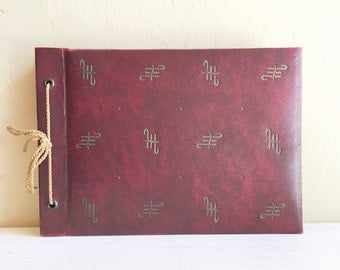 Antique Photo Album Book for Photographs Dark Red and Gold Black Pages Picture Corner Holders