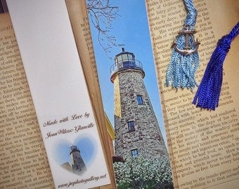 Scenic Charlotte Genesee Cobblestone Lighthouse Laminated Photo Bookmark w/Tibet Silver Anchor Charm Bead
