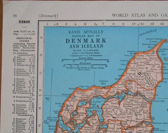 Vintage Map of Denmark, Iceland 1947 original Atlas Map, old maps as wall art
