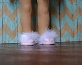 Doll Shoes - Light Pink Maribou Slippers - fits American Girl Doll