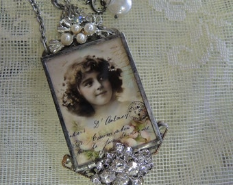 Soldered Glass Assemblage Necklace - Babette, Vintage French Child