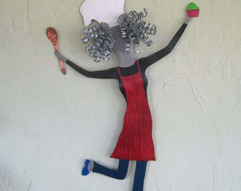 Metal Wall Art Lady Chef Kitchen Decor Recycled Metal Dining Room Dancing Chef Indoor Outdoor Patio Art 15 x 22