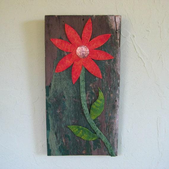 flower art wall hanging sculpture reclaimed barn wood metal. Black Bedroom Furniture Sets. Home Design Ideas